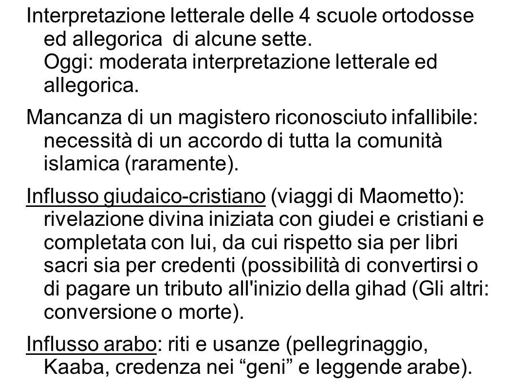 Interpretazione letterale delle 4 scuole ortodosse ed allegorica di alcune sette. Oggi: moderata interpretazione letterale ed allegorica.