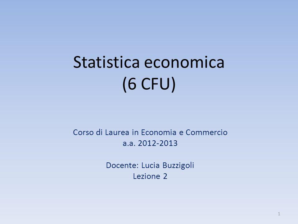 Statistica economica (6 CFU)