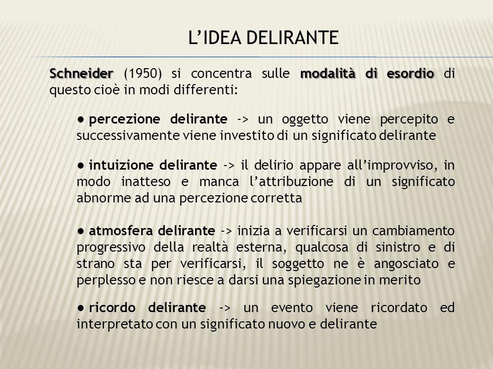 L'IDEA DELIRANTE Schneider (1950) si concentra sulle modalità di esordio di questo cioè in modi differenti: