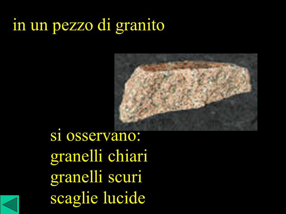 in un pezzo di granito si osservano: granelli chiari granelli scuri scaglie lucide