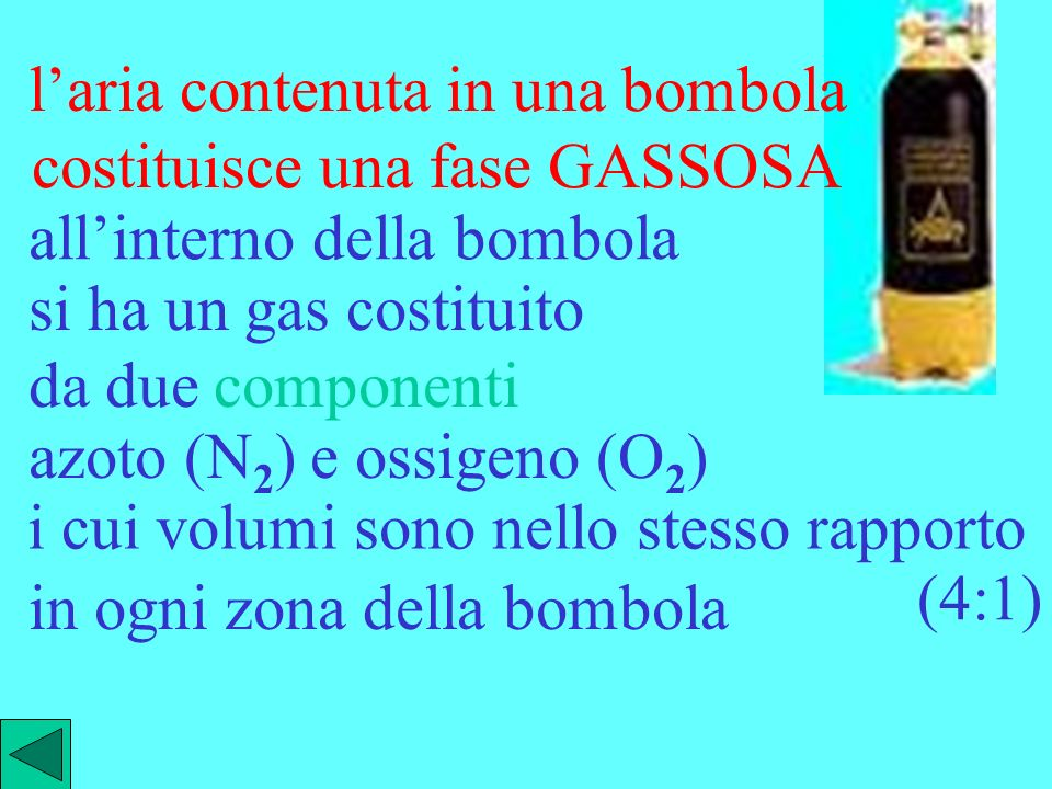 l'aria contenuta in una bombola costituisce una fase GASSOSA