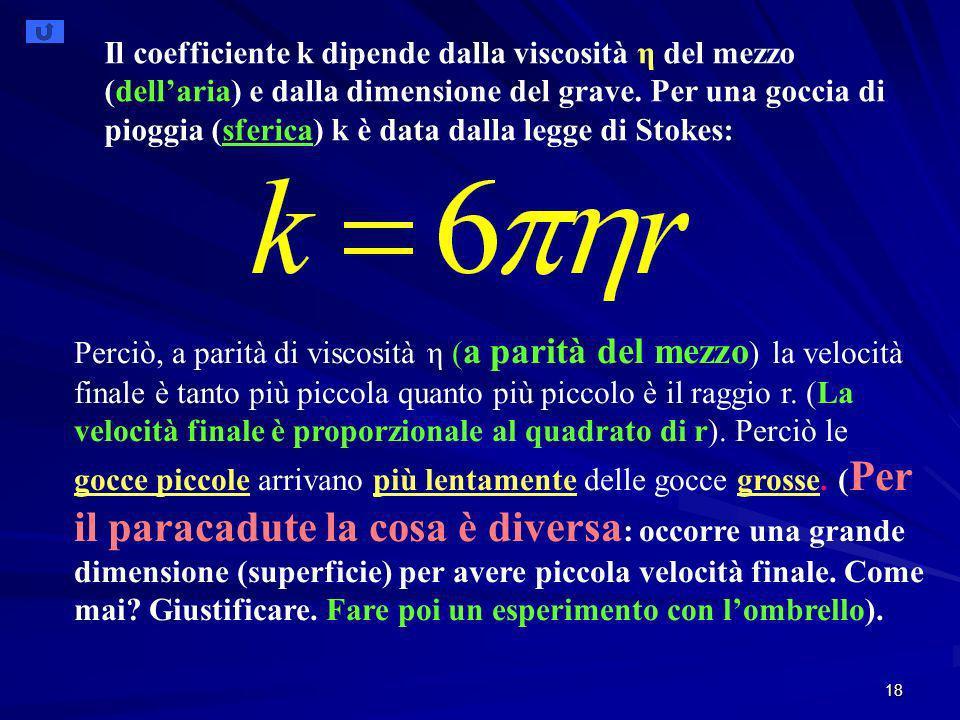 Il coefficiente k dipende dalla viscosità η del mezzo (dell'aria) e dalla dimensione del grave. Per una goccia di pioggia (sferica) k è data dalla legge di Stokes: