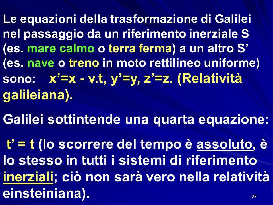 Galilei sottintende una quarta equazione: