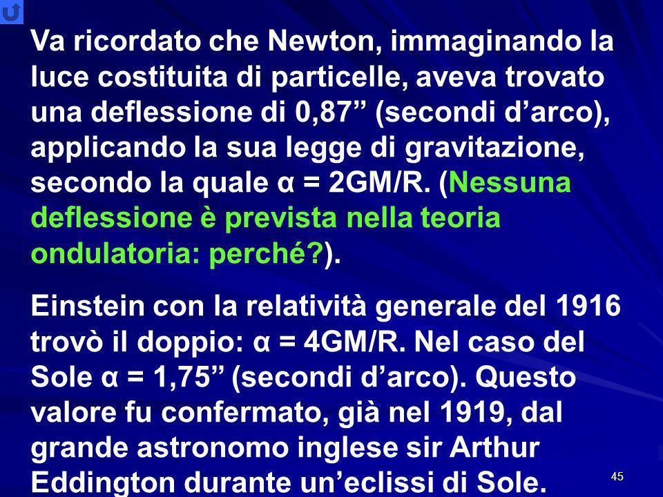 Va ricordato che Newton, immaginando la luce costituita di particelle, aveva trovato una deflessione di 0,87 (secondi d'arco), applicando la sua legge di gravitazione, secondo la quale α = 2GM/R. (Nessuna deflessione è prevista nella teoria ondulatoria: perché ).