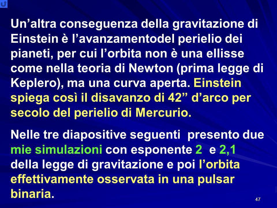 Un'altra conseguenza della gravitazione di Einstein è l'avanzamentodel perielio dei pianeti, per cui l'orbita non è una ellisse come nella teoria di Newton (prima legge di Keplero), ma una curva aperta. Einstein spiega così il disavanzo di 42 d'arco per secolo del perielio di Mercurio.
