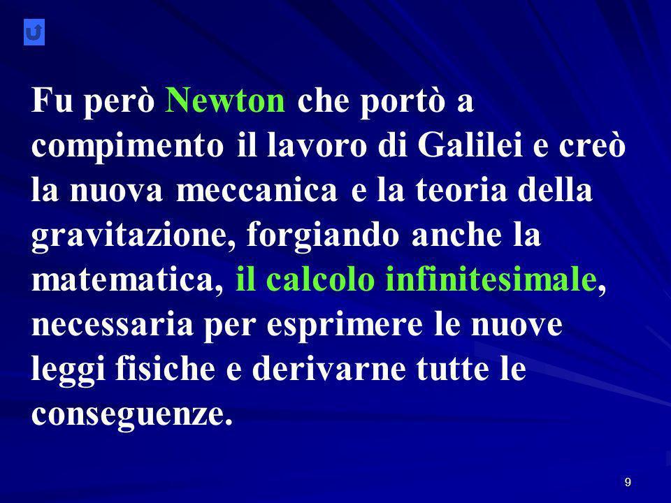 Fu però Newton che portò a compimento il lavoro di Galilei e creò la nuova meccanica e la teoria della gravitazione, forgiando anche la matematica, il calcolo infinitesimale, necessaria per esprimere le nuove leggi fisiche e derivarne tutte le conseguenze.