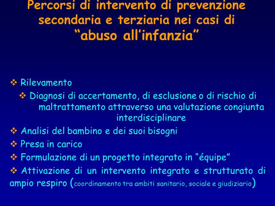 Percorsi di intervento di prevenzione secondaria e terziaria nei casi di abuso all'infanzia