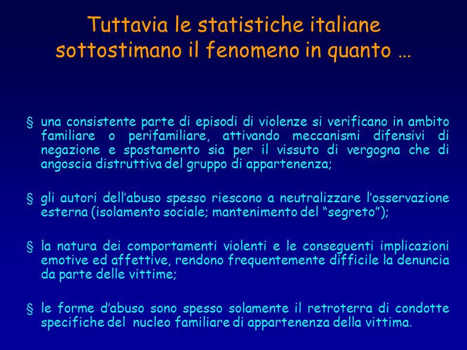Tuttavia le statistiche italiane sottostimano il fenomeno in quanto …
