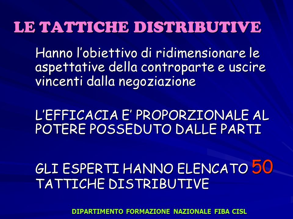 LE TATTICHE DISTRIBUTIVE