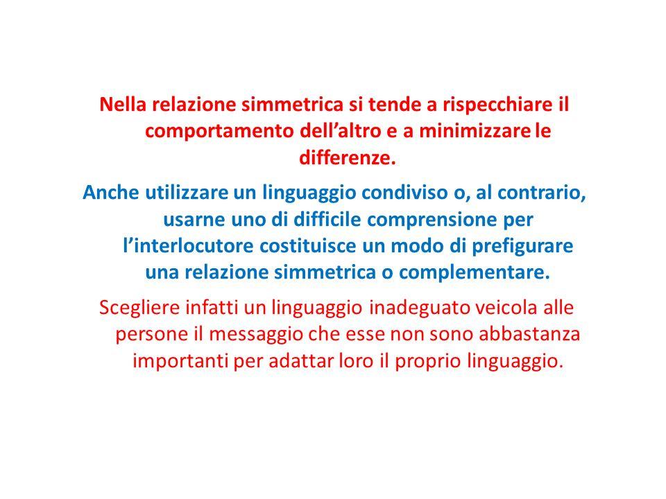 Nella relazione simmetrica si tende a rispecchiare il comportamento dell'altro e a minimizzare le differenze.