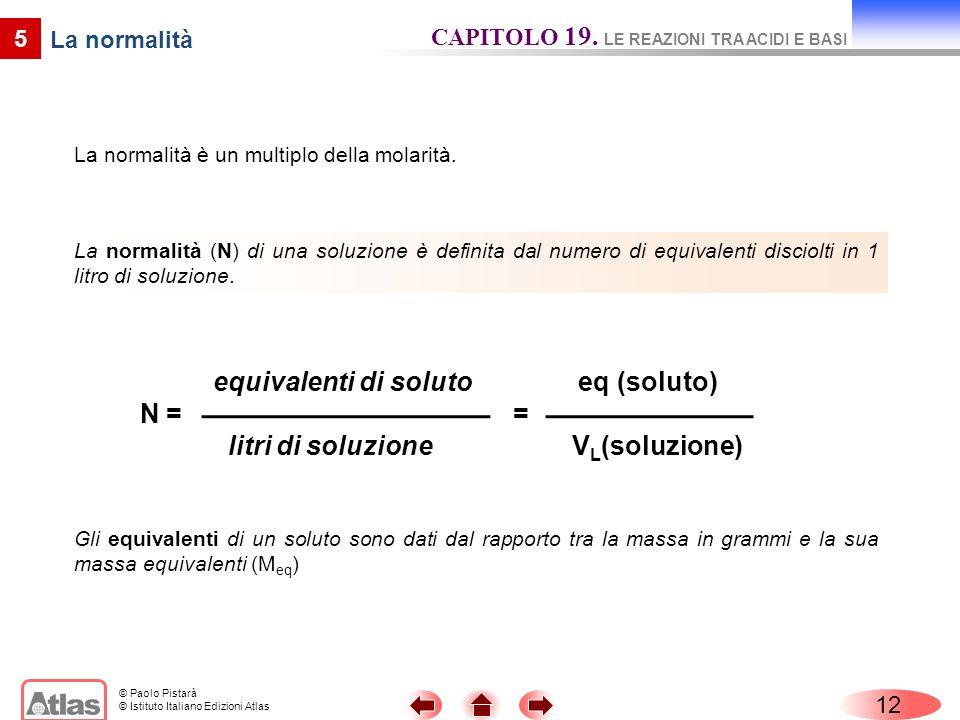 equivalenti di soluto N = litri di soluzione eq (soluto) =