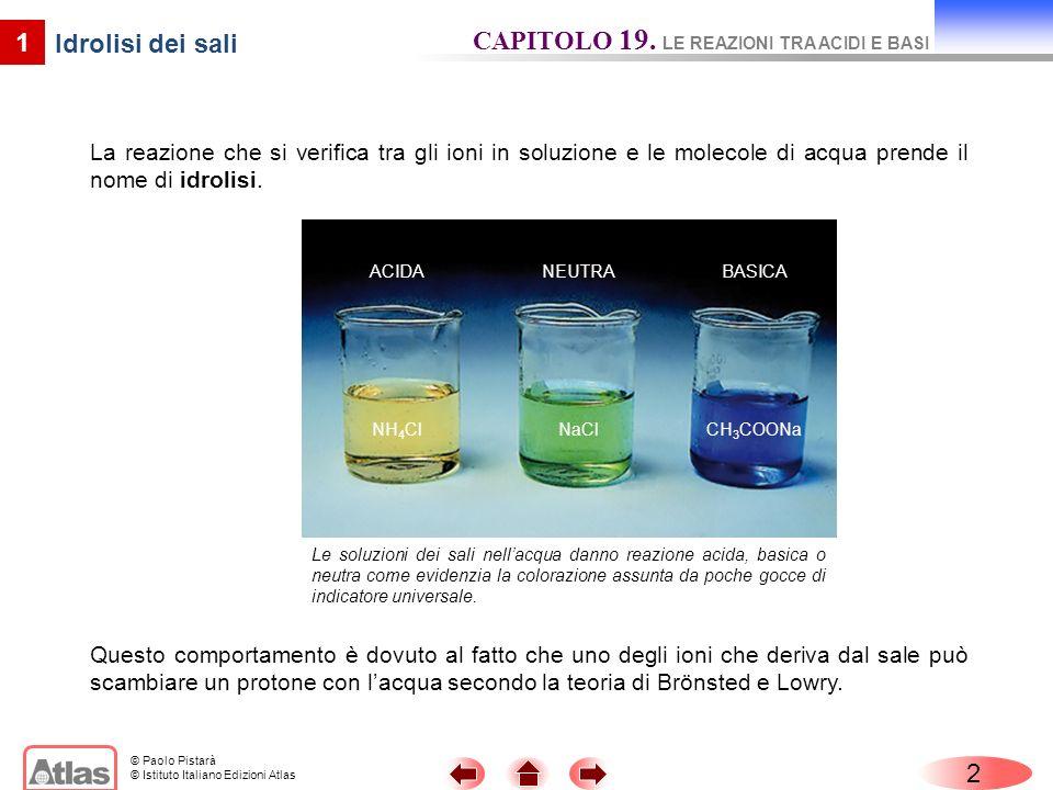 CAPITOLO 19. LE REAZIONI TRA ACIDI E BASI Idrolisi dei sali