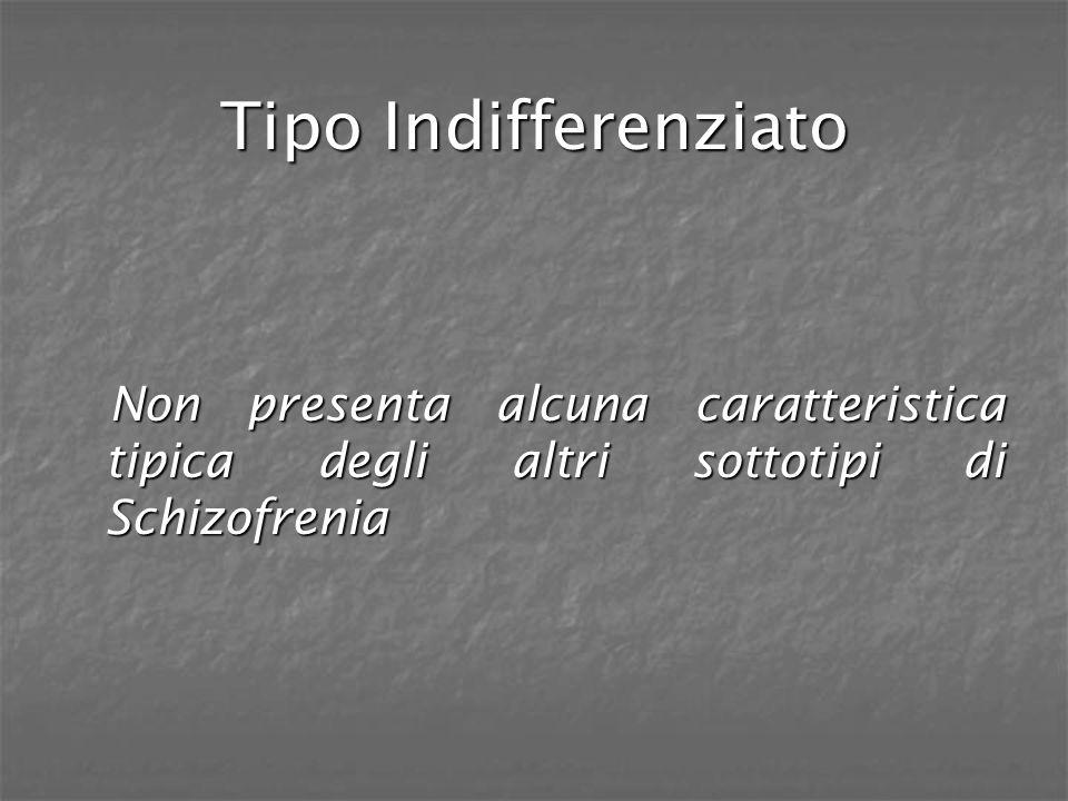 Tipo Indifferenziato Non presenta alcuna caratteristica tipica degli altri sottotipi di Schizofrenia.