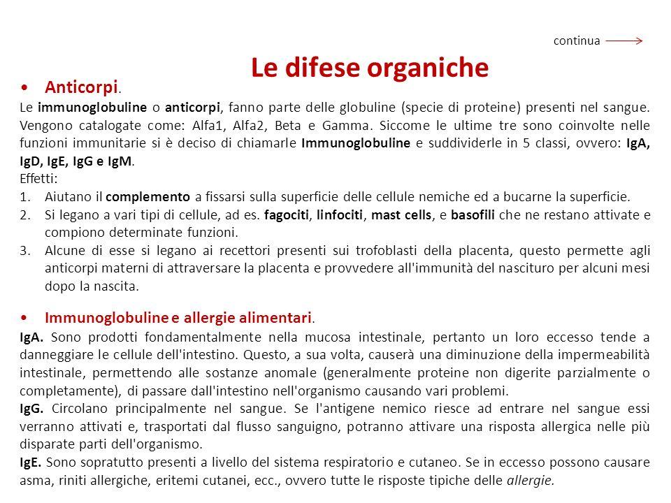 Le difese organiche Anticorpi. Immunoglobuline e allergie alimentari.