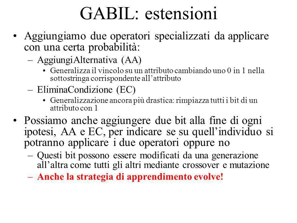 GABIL: estensioni Aggiungiamo due operatori specializzati da applicare con una certa probabilità: AggiungiAlternativa (AA)