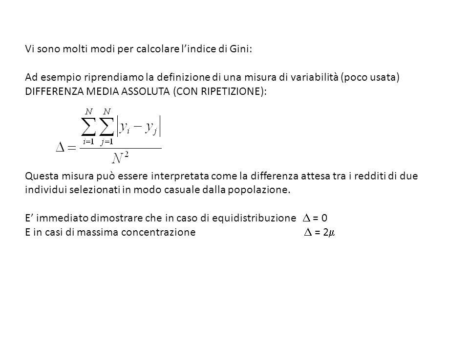 Vi sono molti modi per calcolare l'indice di Gini: