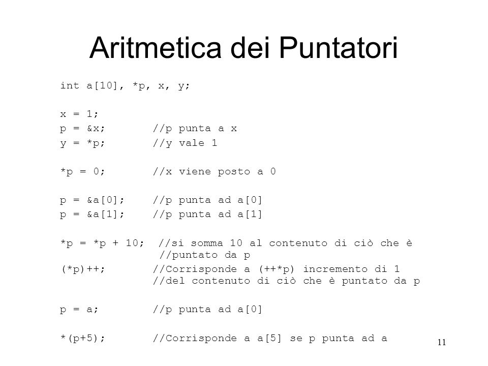 Aritmetica dei Puntatori