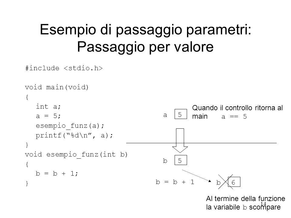 Esempio di passaggio parametri: Passaggio per valore