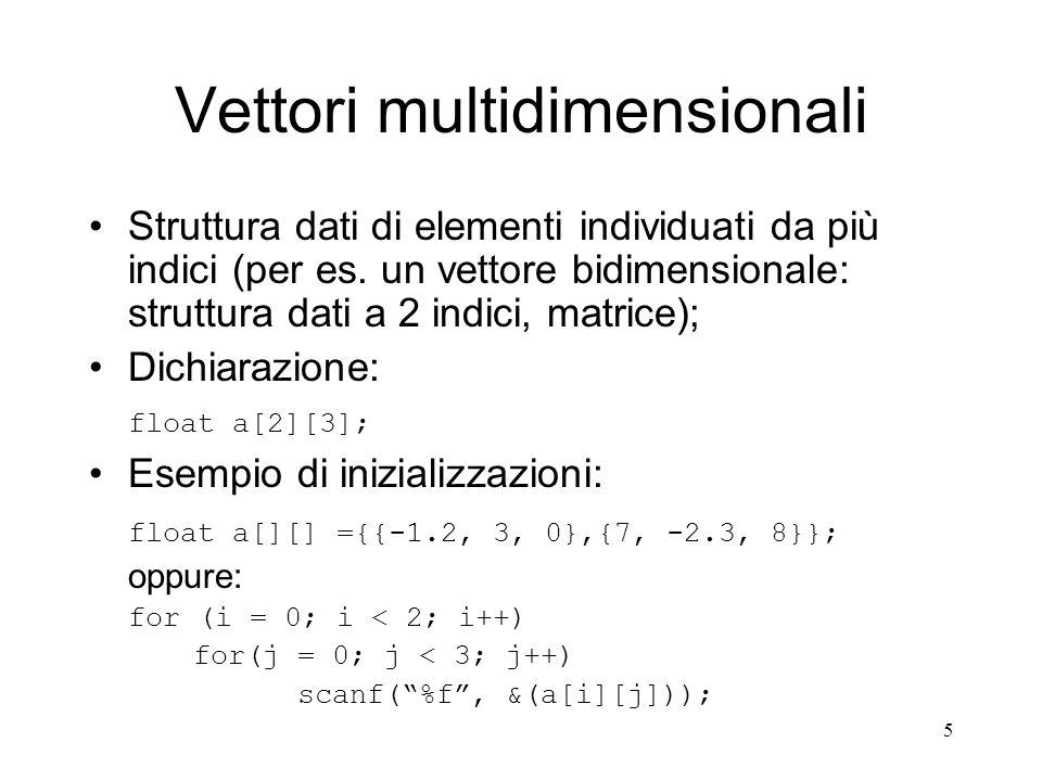 Vettori multidimensionali