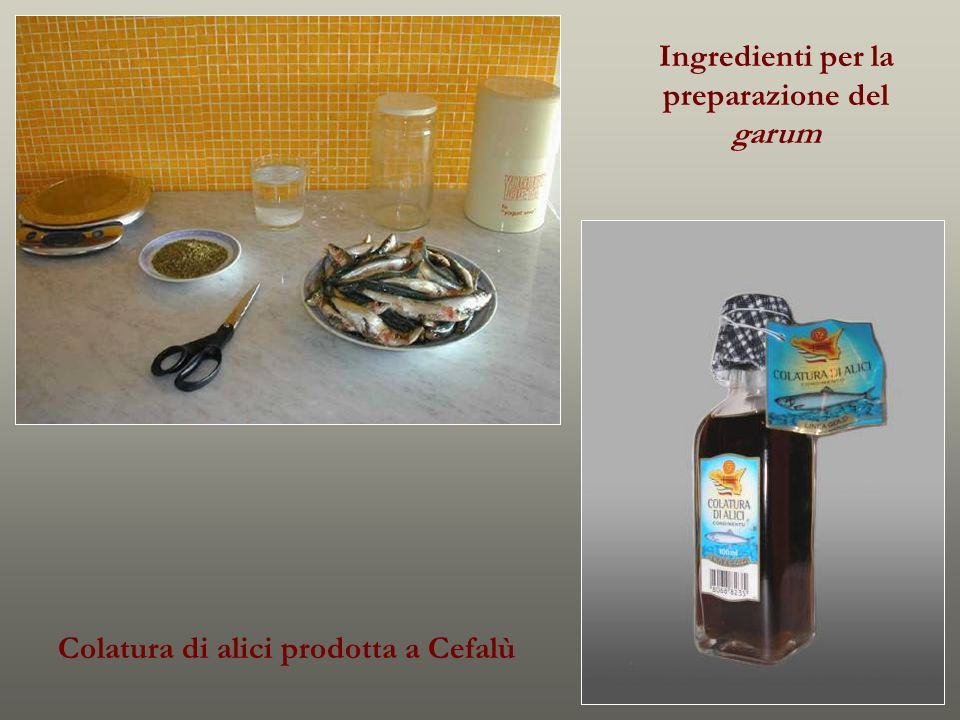 Ingredienti per la preparazione del garum