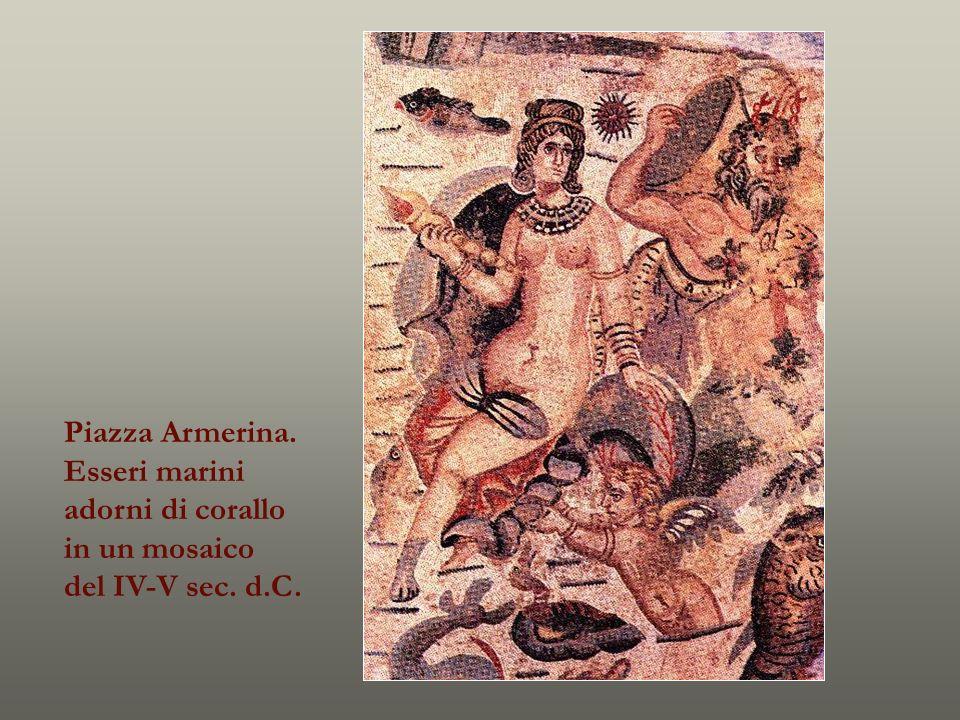 Piazza Armerina. Esseri marini adorni di corallo in un mosaico del IV-V sec. d.C.