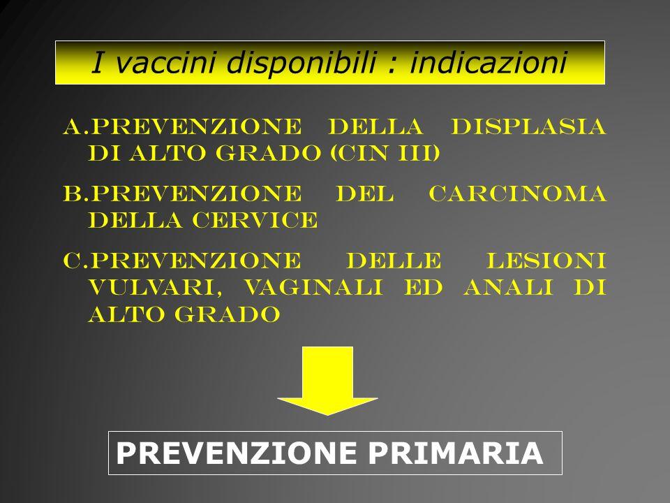 I vaccini disponibili : indicazioni