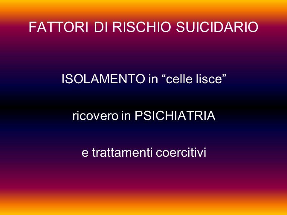FATTORI DI RISCHIO SUICIDARIO