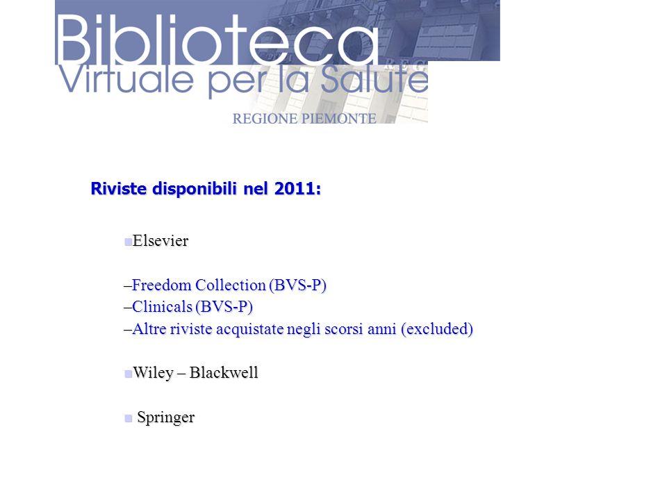 Riviste disponibili nel 2011: