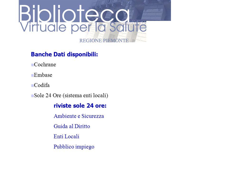 Banche Dati disponibili: