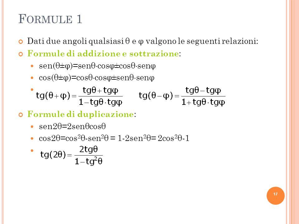 Formule 1Dati due angoli qualsiasi θ e φ valgono le seguenti relazioni: Formule di addizione e sottrazione: