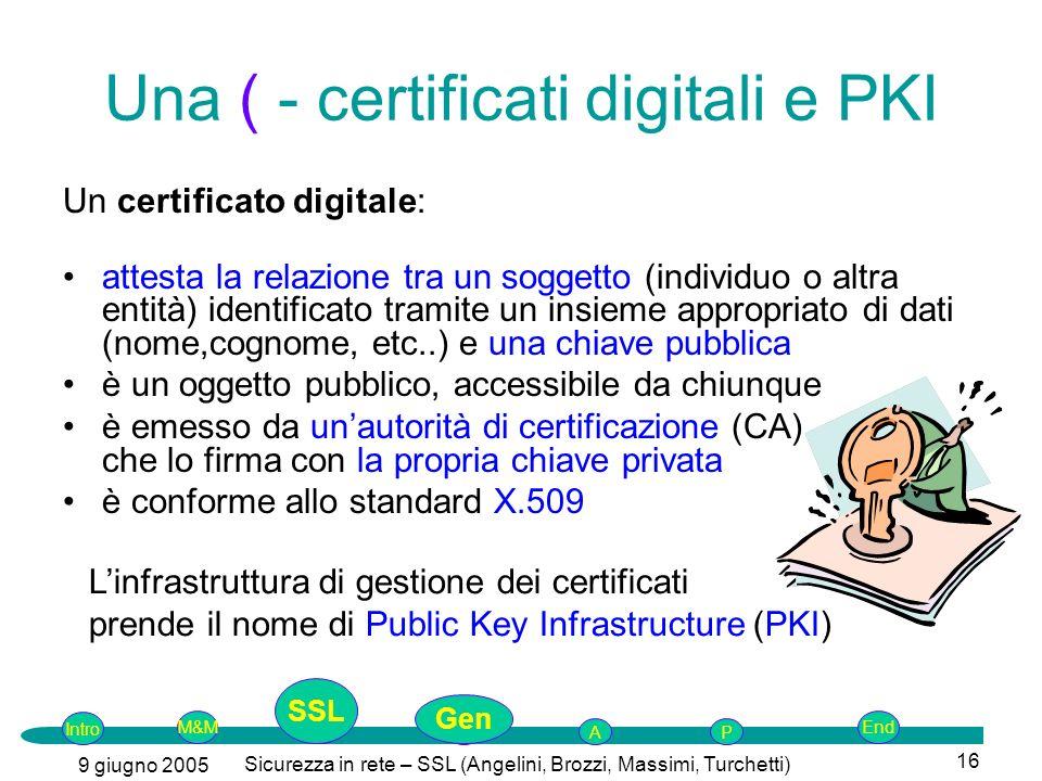 Una ( - certificati digitali e PKI