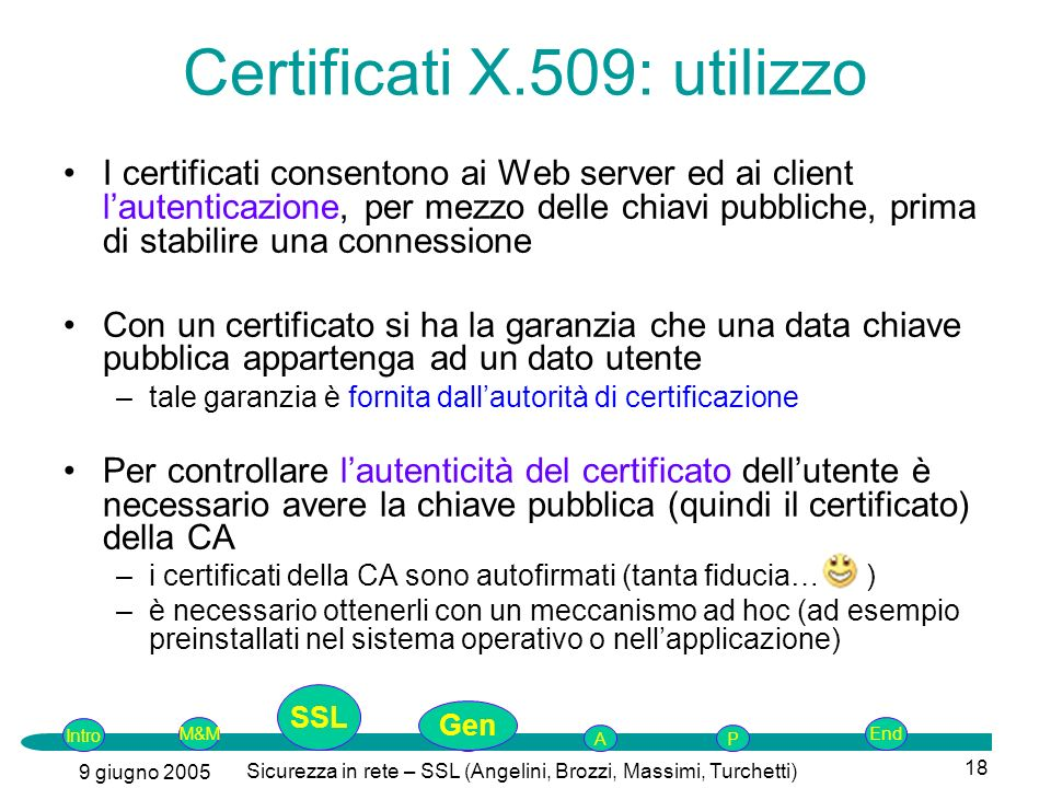 Certificati X.509: utilizzo