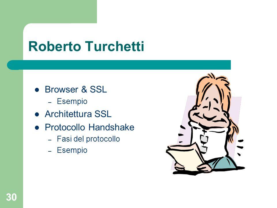 Roberto Turchetti Browser & SSL Architettura SSL Protocollo Handshake