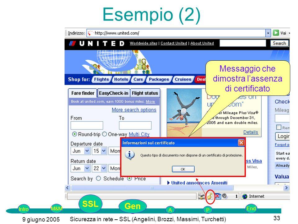 Esempio (2) Messaggio che dimostra l'assenza di certificato SSL Gen