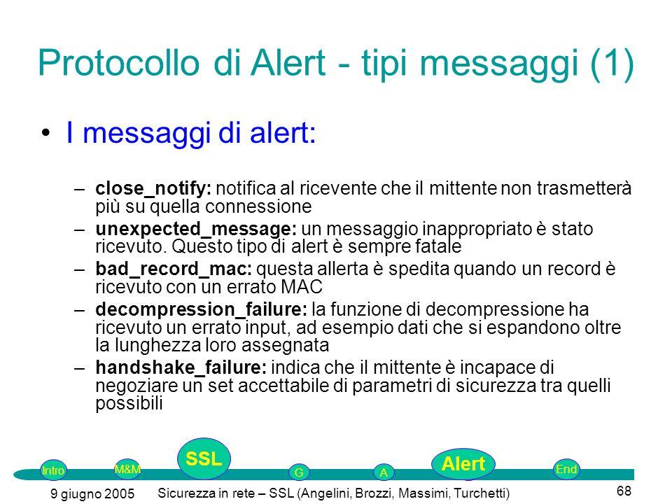Protocollo di Alert - tipi messaggi (1)