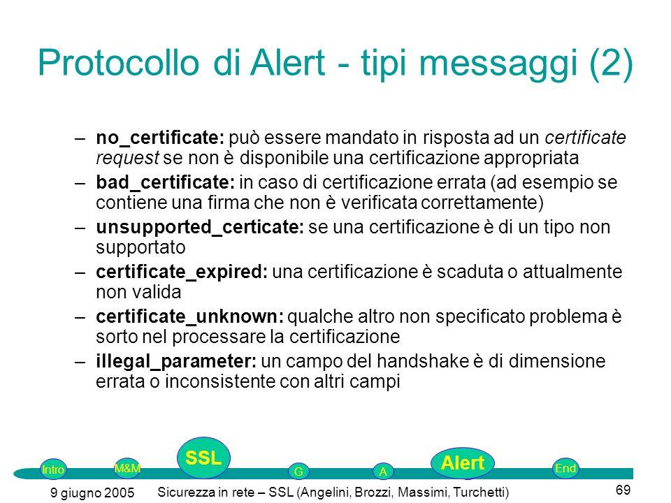 Protocollo di Alert - tipi messaggi (2)
