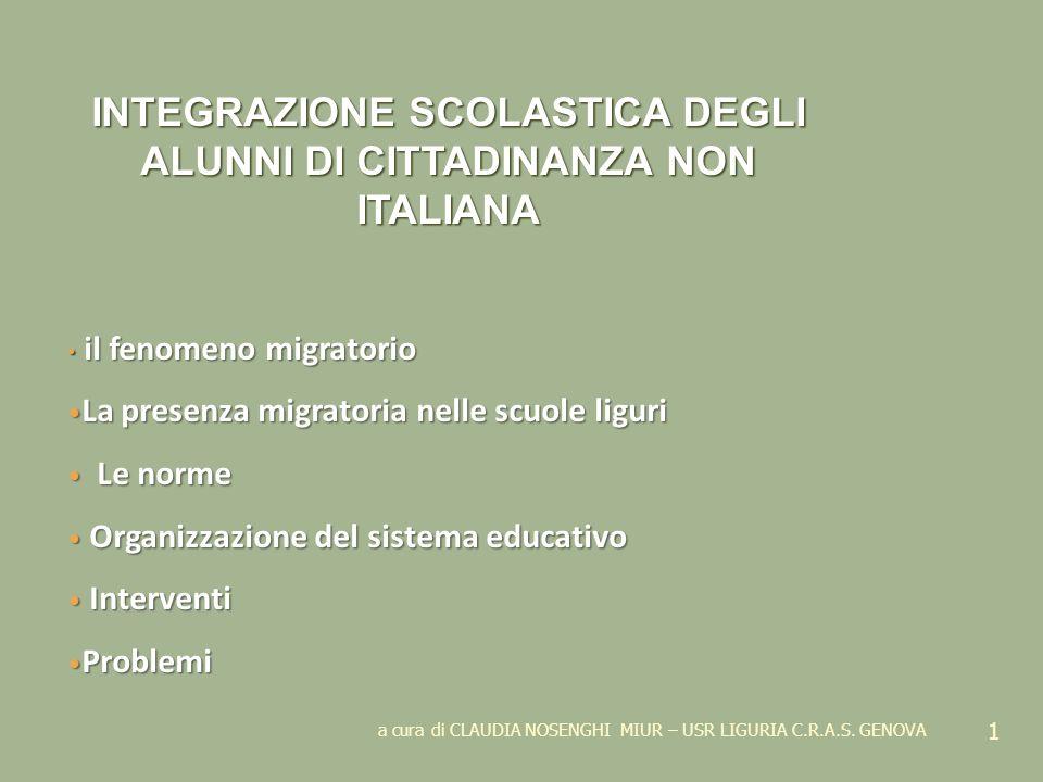 INTEGRAZIONE SCOLASTICA DEGLI ALUNNI DI CITTADINANZA NON ITALIANA
