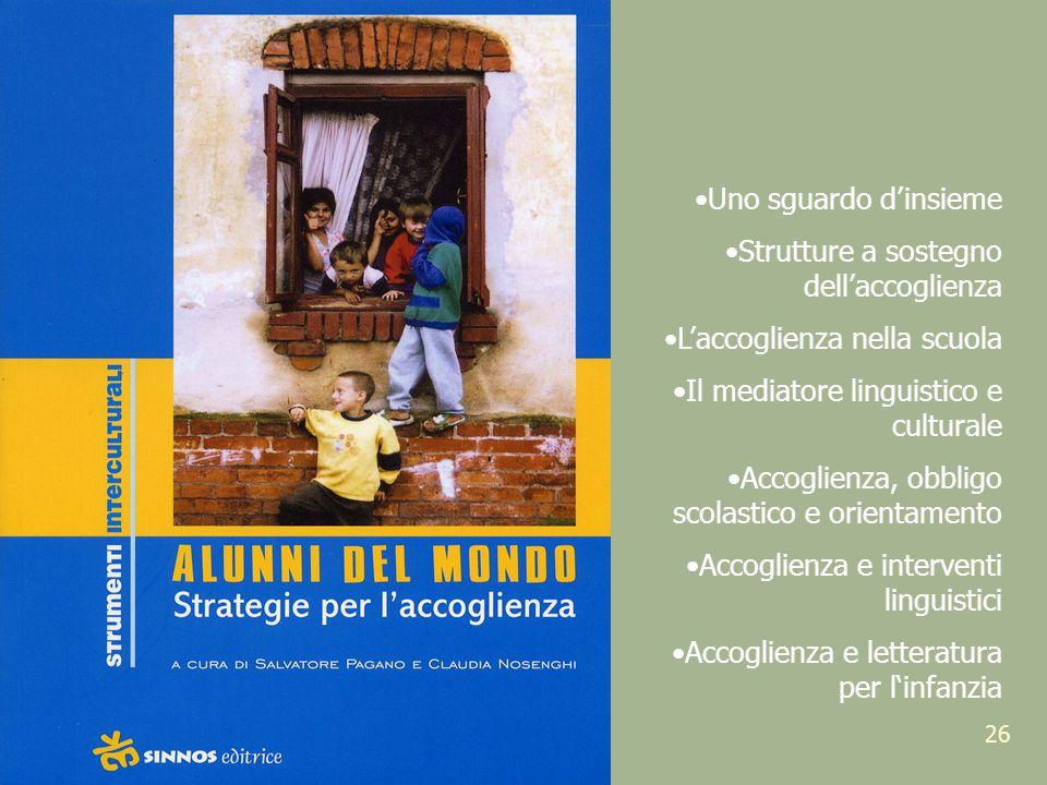Uno sguardo d'insieme Strutture a sostegno dell'accoglienza. L'accoglienza nella scuola. Il mediatore linguistico e culturale.