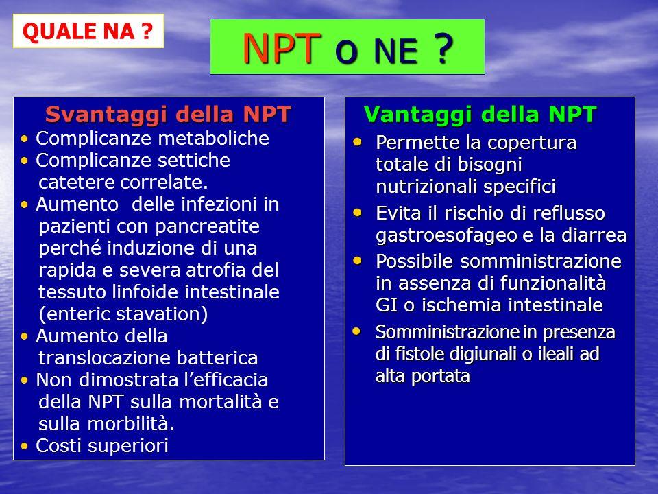 NPT o NE QUALE NA Svantaggi della NPT Complicanze metaboliche