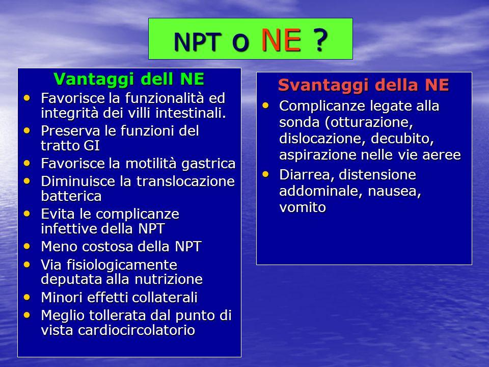 NPT o NE Vantaggi dell NE Svantaggi della NE