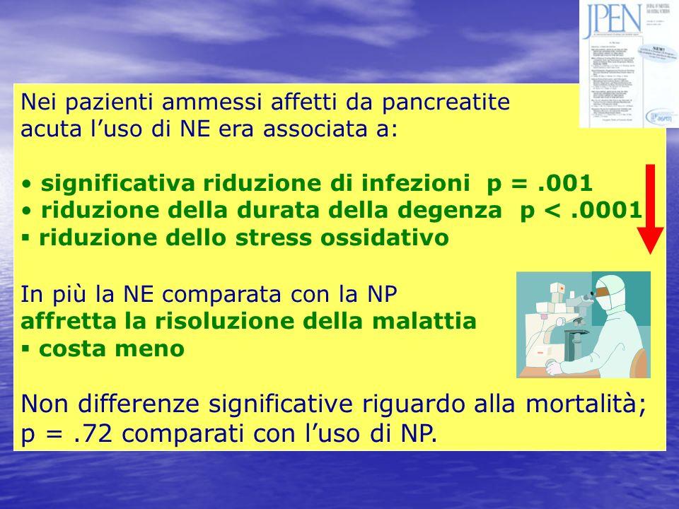 Nei pazienti ammessi affetti da pancreatite