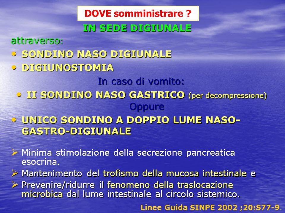 II SONDINO NASO GASTRICO (per decompressione) Oppure