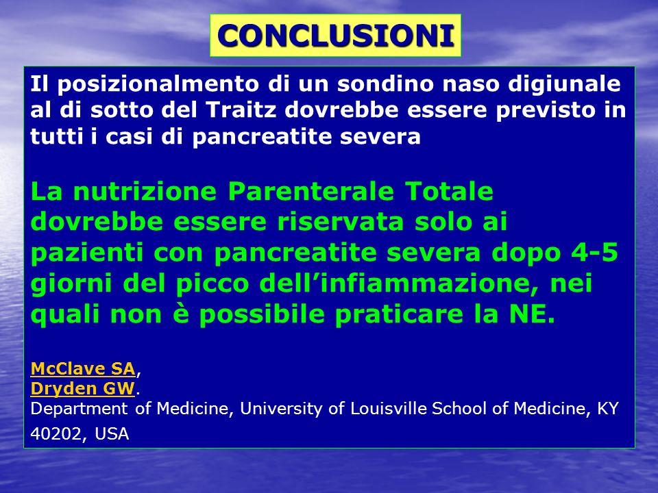 CONCLUSIONI Il posizionalmento di un sondino naso digiunale al di sotto del Traitz dovrebbe essere previsto in tutti i casi di pancreatite severa.