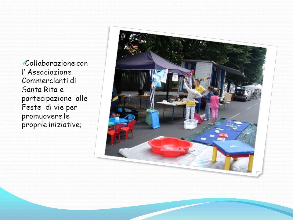 Collaborazione con l' Associazione Commercianti di Santa Rita e partecipazione alle Feste di vie per promuovere le proprie iniziative;