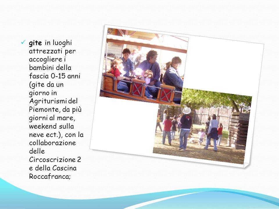 gite in luoghi attrezzati per accogliere i bambini della fascia 0-15 anni (gite da un giorno in Agriturismi del Piemonte, da più giorni al mare, weekend sulla neve ect.), con la collaborazione delle Circoscrizione 2 e della Cascina Roccafranca;