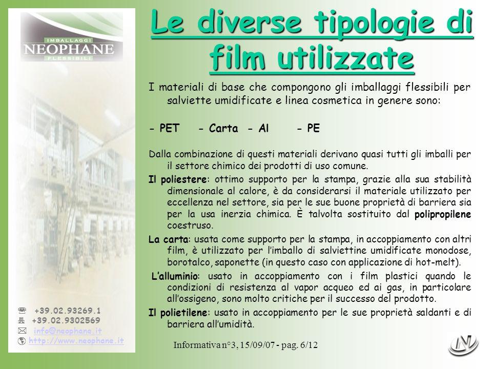 Le diverse tipologie di film utilizzate