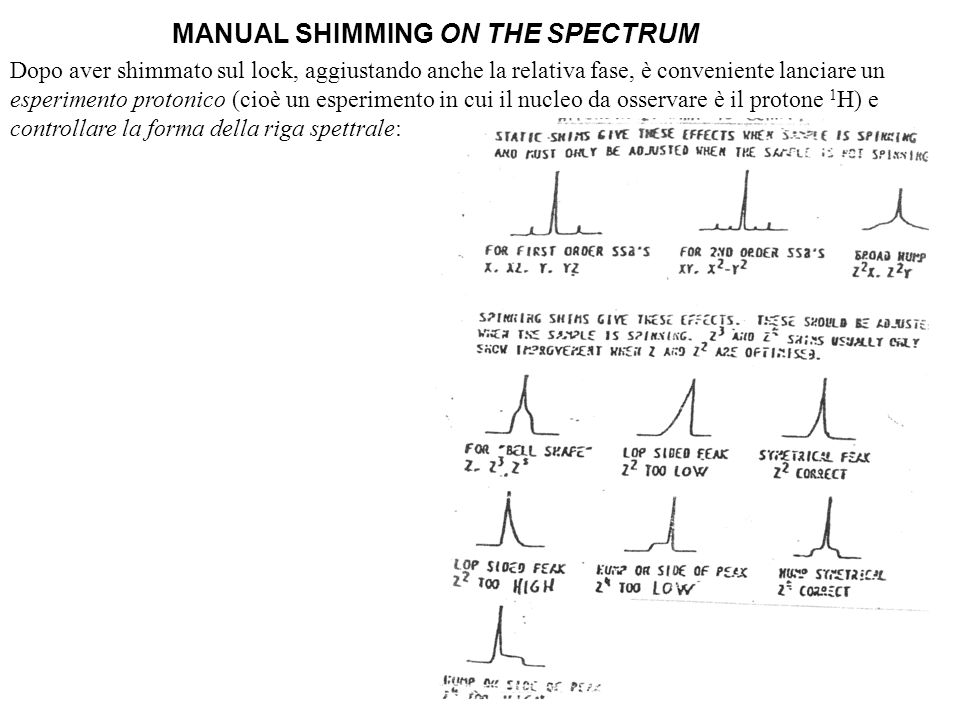 MANUAL SHIMMING ON THE SPECTRUM