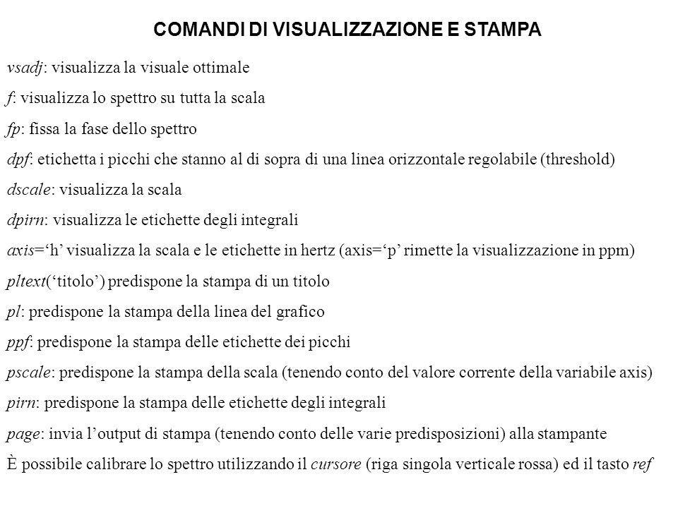 COMANDI DI VISUALIZZAZIONE E STAMPA