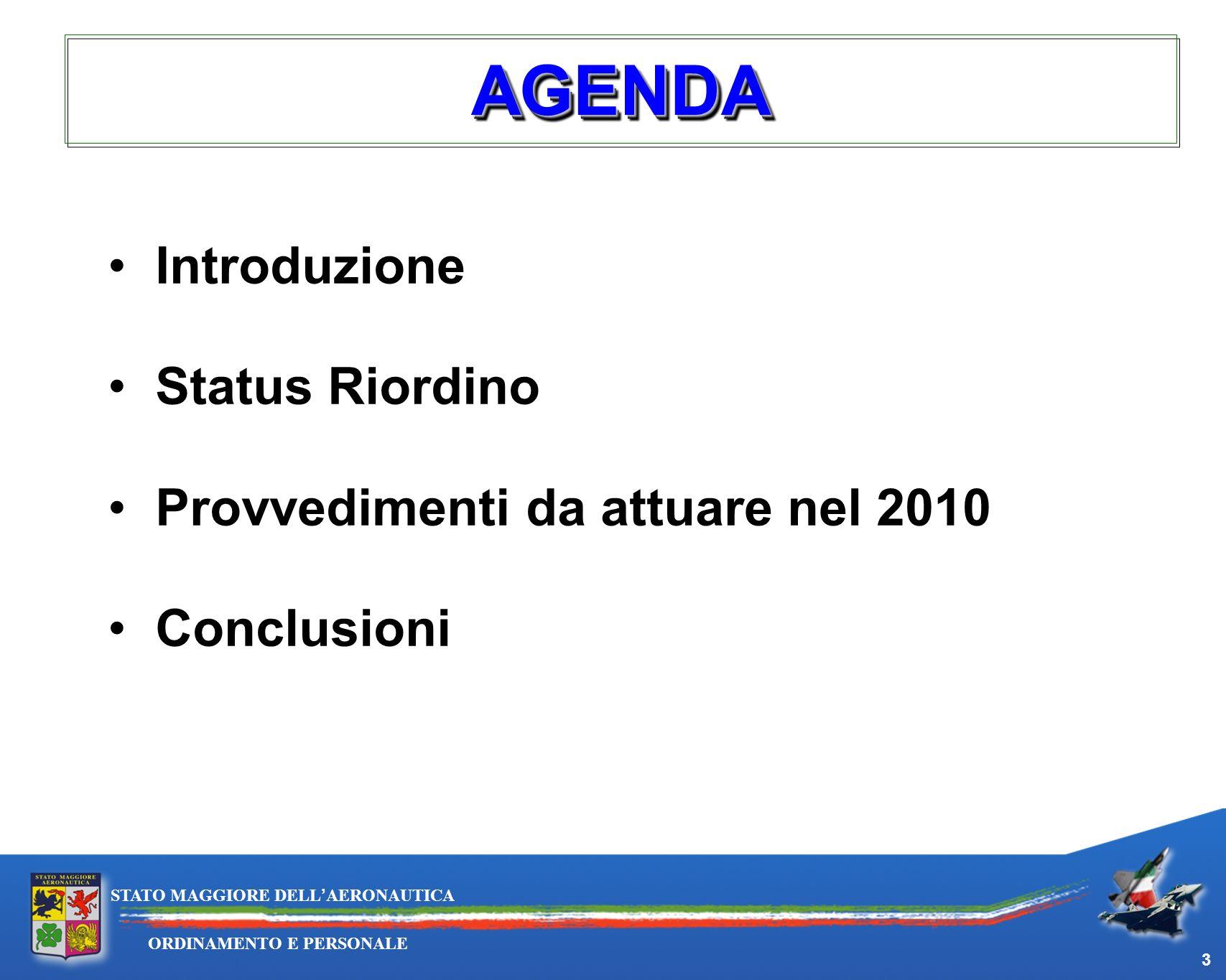 AGENDA Introduzione Status Riordino Provvedimenti da attuare nel 2010