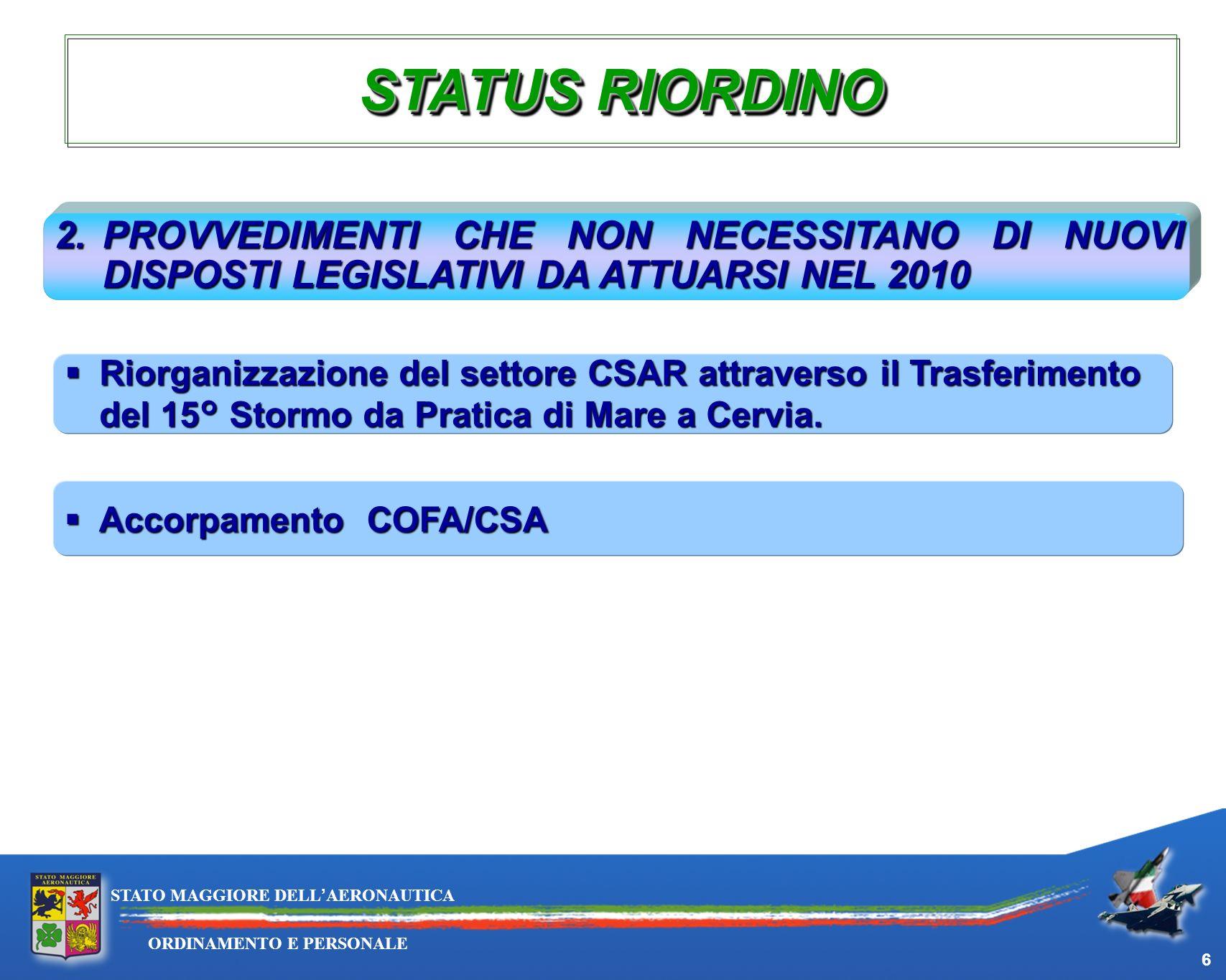 29/03/2017 STATUS RIORDINO. 2. PROVVEDIMENTI CHE NON NECESSITANO DI NUOVI DISPOSTI LEGISLATIVI DA ATTUARSI NEL 2010.